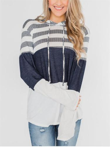 Comfy Color Block Sweater with Ajustable Hood