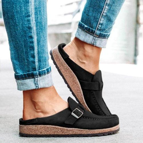 Women's Casual Style Round Toe Flat Heel Slip-On Half Shoes