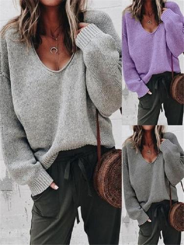 Casual Solid Loose Knit Sweater for Autumn