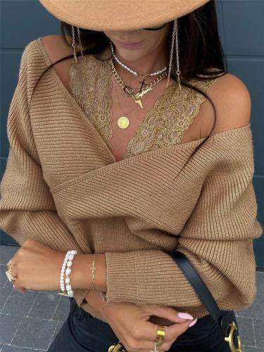 Stylish Floral Lace Strap Wrap Neck Long Sleeve Knitted Cropped Tops