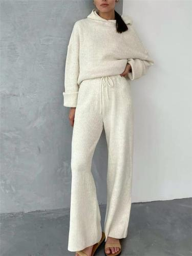 Cozy Tracksuit Sets Hooded Sweatshirt + Waist Drawstring Trousers