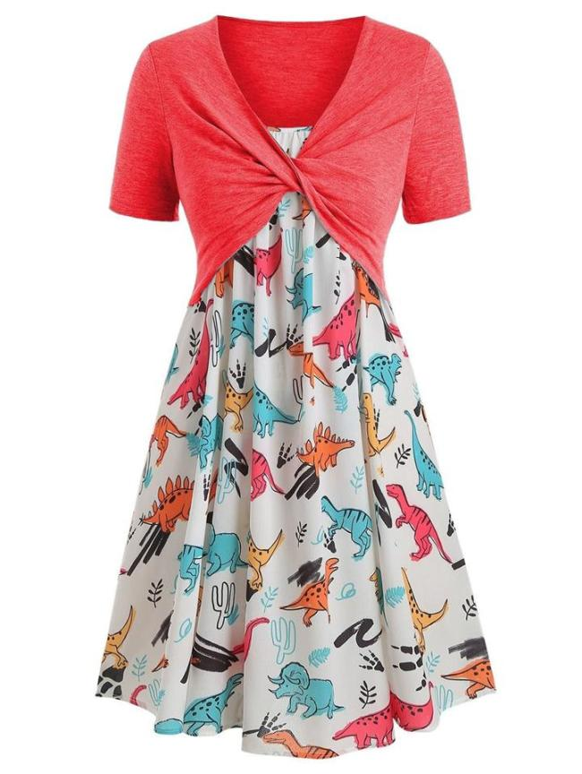 Stylish 2 Piece Twist Knot Short Sleeve Top + Strappy Pleated Flare Dress