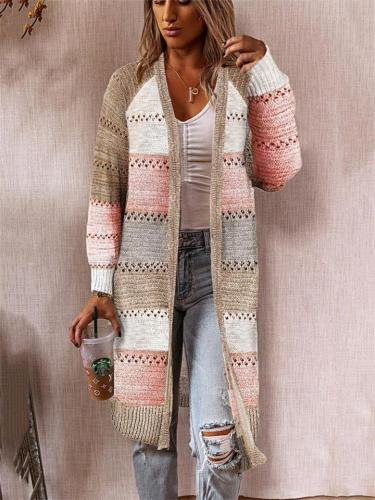 Casual Style Color Block Open Front Long Sleeve Sweater Cardigan