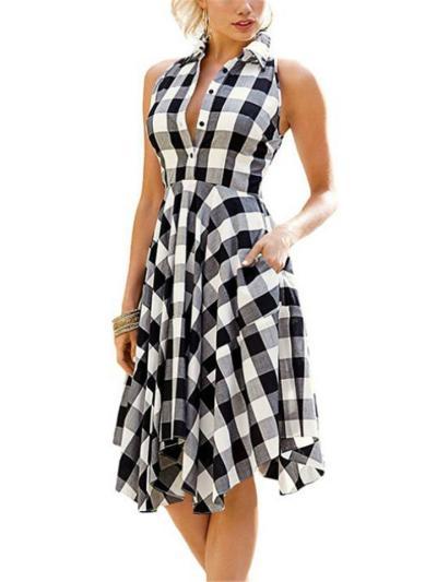 Relaxed Fit Sleeveless Lapel Collar Plaid Button Asymmetric Hem Pocket Midi Dress