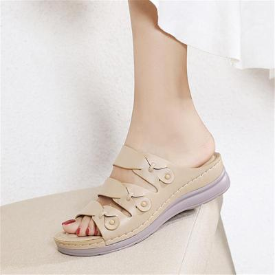Comfortable Open-Toe Thick-Sole Wedge Heel Sandals Slippers