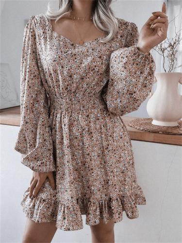 Scoop Neck Floral Printed Elastic Waist Lantern Sleeve Ruffle Hem Chiffon Dress