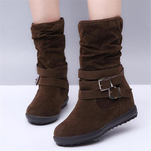 Ultra Cozy Non-Slip Buckle-Up Suede Snow Boots