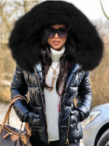 Women Fashion Fur Collar Black Puffer Coat With Hood