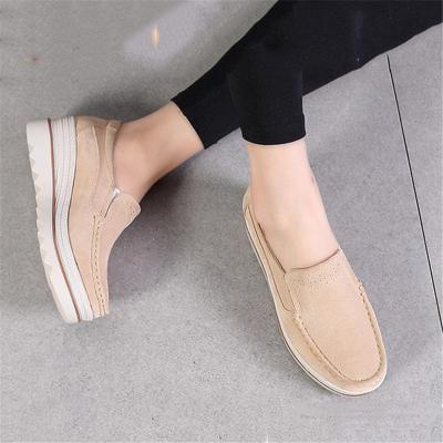 Fur Lining Genuine Leather Thick Sole Wedge Heel Loafers