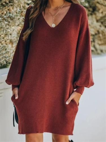 Relaxed Fit Solid Color Balloon Sleeve Pocket Mini Knitted Dress