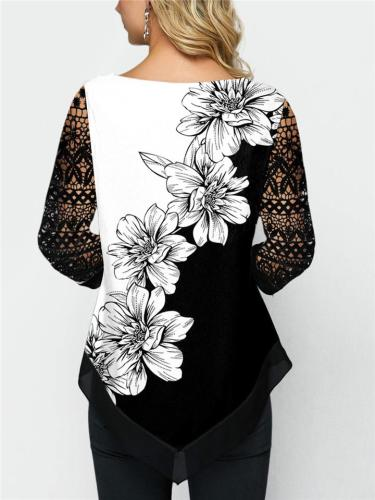 Relaxed Fit Lace Cutout Sleeve Floral Printed Asymmetric Hem Chiffon Tops