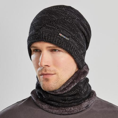 Men's Cozy Warm Knitted Set Beanie Cap + Fur Lining Scarf