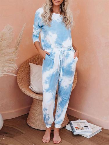 Casual Tie Dye Long Sleeve Pajama Sets Top + Pants