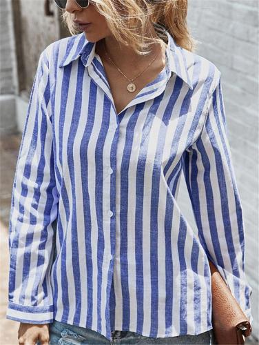 Casual Fit Striped Button Up Long Sleeve Collar Blouse