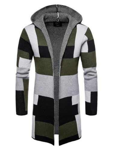 Men's Contrasting Open Front Midi Length Hooded Knit Cardigan