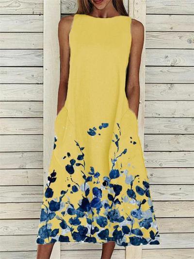 Loose Fit Round Neck Floral Printed Sleeveless Pocket Midi Dress