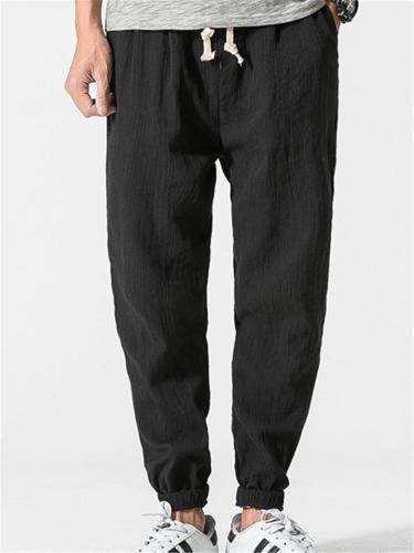 Cotton Linen Solid Color Breathable Loose Jogger Pants