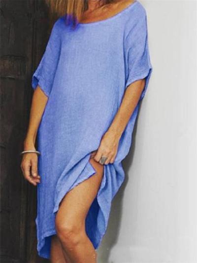 Minimalist Style Round Neck Slit Hem Short Sleeve Midi Dress