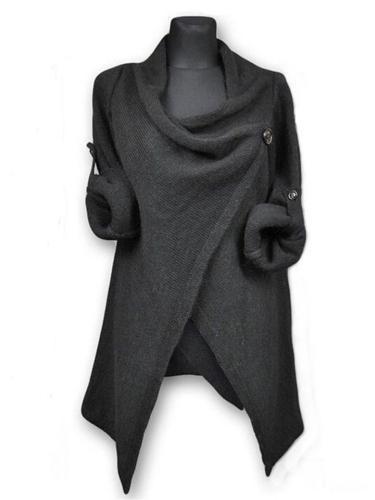 Stylish Cowl Neck Solid Color Button Long Sleeve Sweater Coat