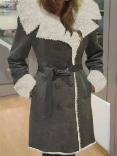 Comfortable Lapel Fur Collar Solid Color Waistband Fleece Coat