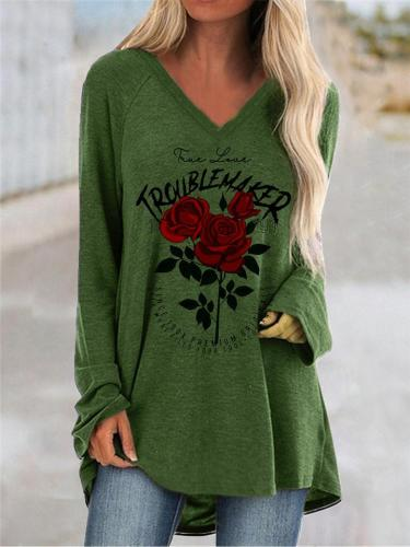 Relaxed Fit V Neck Floral Printed Long Sleeve Pullover Tops