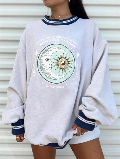 Oversized Round Neck Sun Moon Printed Long Sleeve Sweatshirt