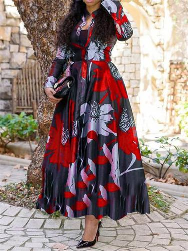 Fashionable V Neck Button Up Floral A-Lined Flare Maxi Dress