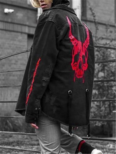 Men's Gothic Demon Skull Cool Denim Jacket