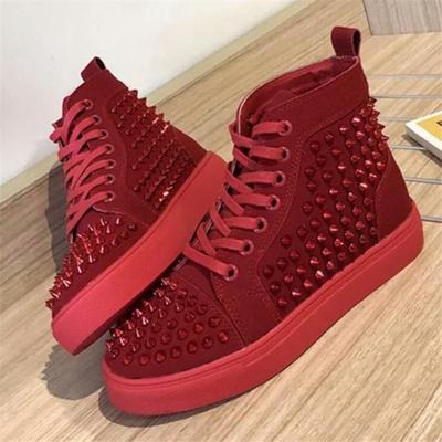 Fashionable Rivets Deco Lace-Up Flat Heel Shoes