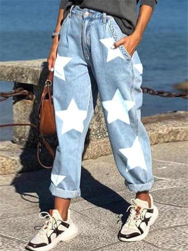 Casual Fit Star Printed Pocket Button Up Denim Trousers