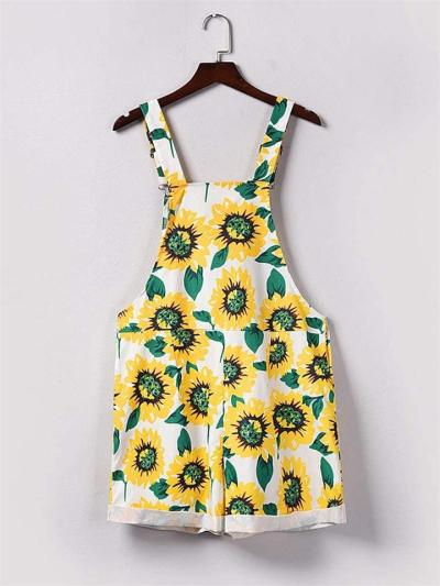 Relaxed Fit Sunflower Pattern Suspenders Bib Short Overalls