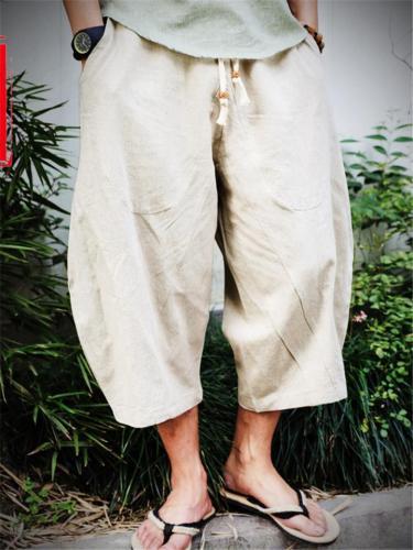 Plus-sized Cotton Linen Casual Cropped Pants For Men