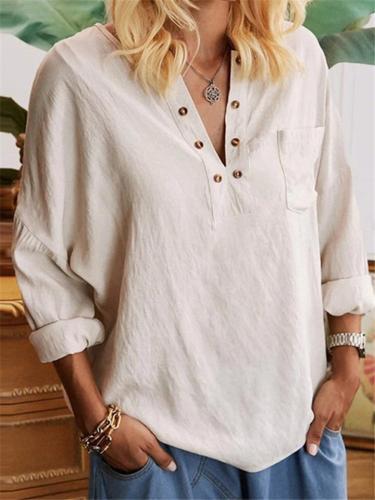 Loose Fit V Neck Solid Color Chest Pocket Pullover Tops