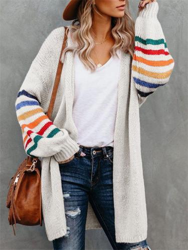 Women's Loose Casual Rainbow Stripe Long Sleeve Sweaters Coats