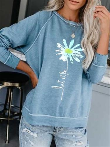 Floral Printed Round Neck Cotton-Blend Pullover Shirt