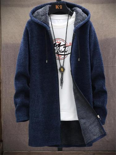 Ultra Warm Full Zipper Fur Lining Pocket Drawstring Hooded Coat