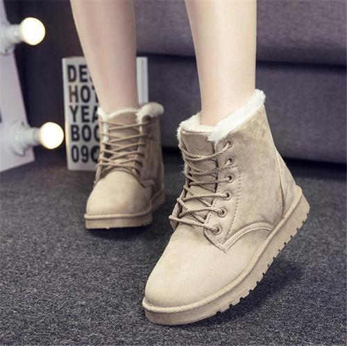 Cozy Warm Suede Lace Up Faux Fur Lining Flat Heel Short Boots