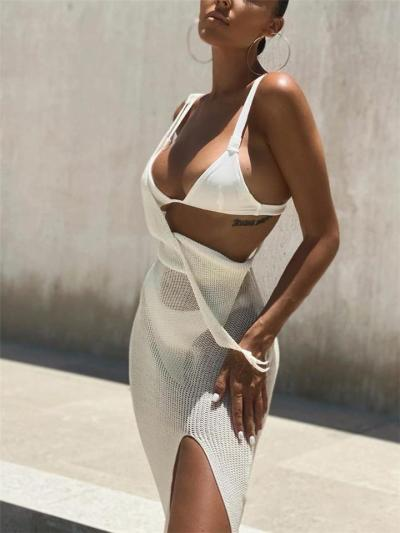 Sexy Pretty Wrap V Neck Opening Back Slit Semi Sheer Maxi Dress