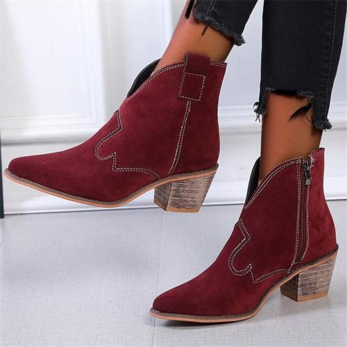 Stylish Pointed-Toe Chunky Mid Heel Side Zipper Suede Boots