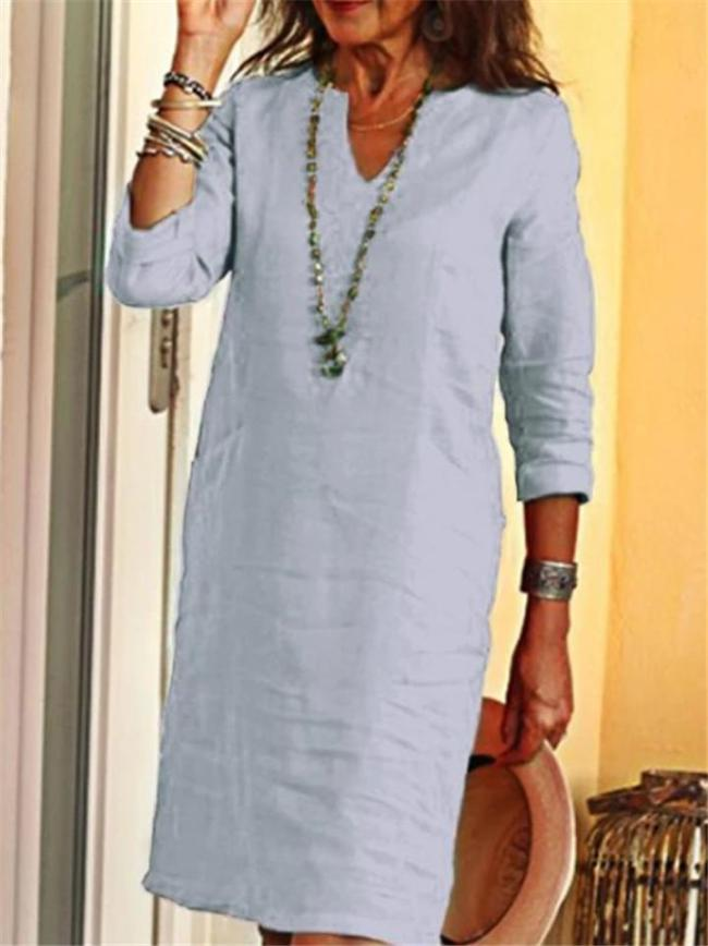 Relaxed Fit V Neck Long Sleeve Solid Color Pullover Shift Dress