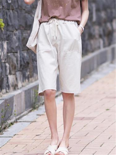 Side Pocket Tie-Waisted Straight Leg Knee-Length Bermuda Shorts