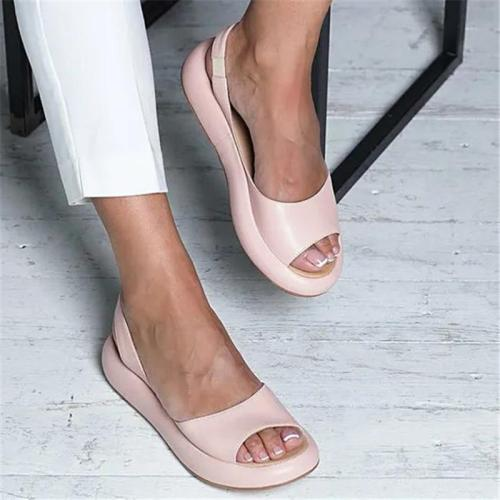 Women Casual Peep Toe Slip-On Faux Leather Sandals