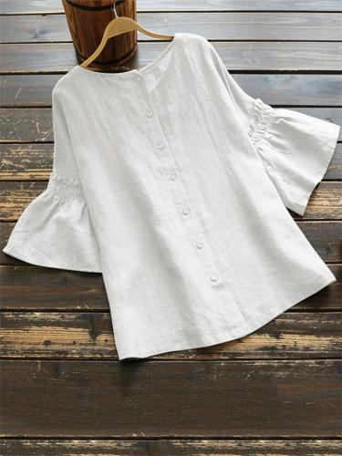 Casual Fit Front Button Up Round Neck Bell Sleeve Blouse