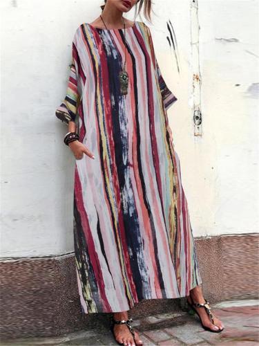 Women's Loose Multi-color Seven-points Sleeve Dress