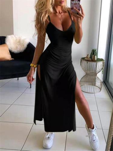 Sexy Pretty Scoop Neck Spaghetti Strap Thigh High Slit Dress