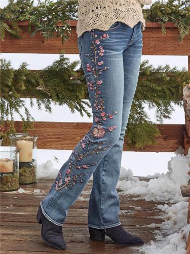 Vintage Cherry Blossom Straight Jeans