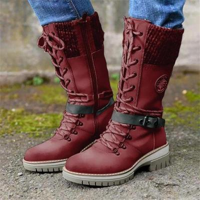 Retro Style Chunky Low Heel Lace Up Knitted Mid-Calf Boots