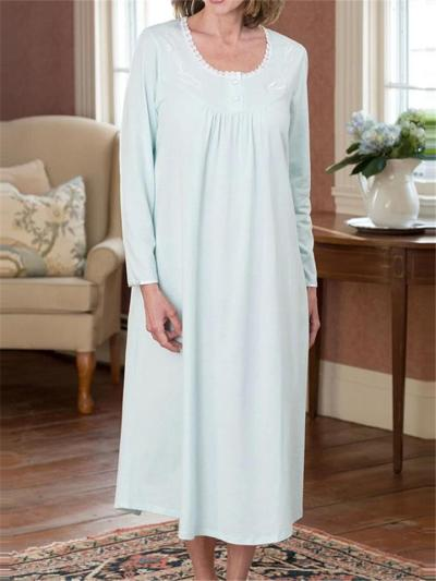 Loose Fit Round Neck Button Long Sleeve Pleated Nightgown