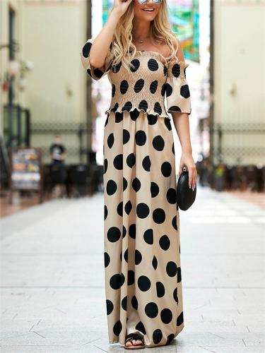 Stylish Off Shoulder Polka Dot Elastic Waist Short Sleeve Maxi Dress