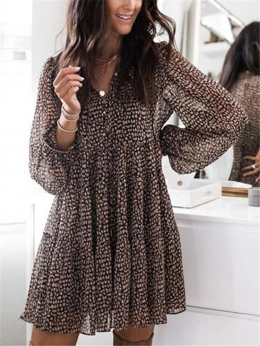Loose Fit Leopard Pattern V Neck Lantern Sleeve Pleated Pullover Dress